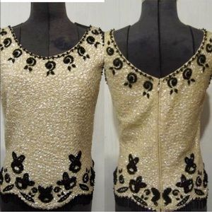 1950's Hong Kong ivory sequin/beaded shell top